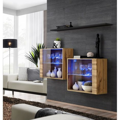 Ensemble meubles de salon SWITCH SBIII, coloris chêne Wotan et porte vitrée avec système LED intégré, étagère noire. - Marron