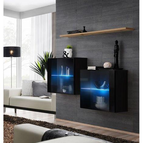 Ensemble meubles de salon SWITCH SBIII, coloris noir brillant et porte vitrée avec système LED intégré, étagère chêne Wotan. - Noir