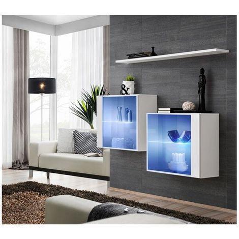 Ensemble meubles de salon SWITCH SBIII design, coloris blanc brillant et porte vitrée avec système LED intégré. - Blanc