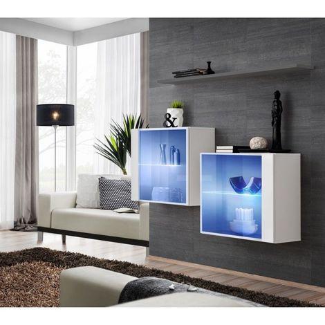 Ensemble meubles de salon SWITCH SBIII design, coloris blanc brillant et porte vitrée avec système LED intégré, étagère grise. - Blanc
