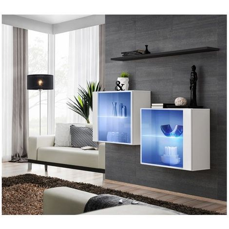 Ensemble meubles de salon SWITCH SBIII design, coloris blanc brillant et porte vitrée avec système LED intégré, étagère noire. - Blanc
