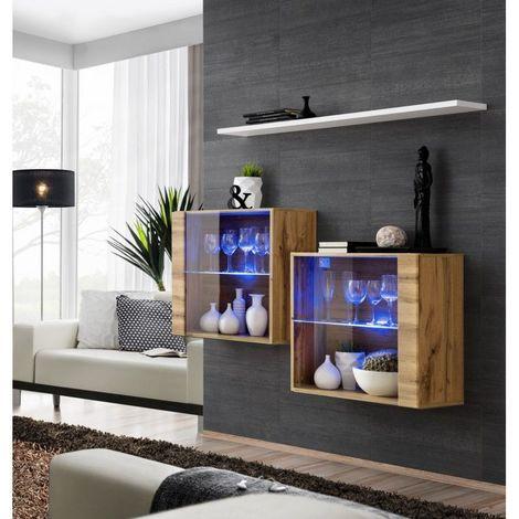Ensemble meubles de salon SWITCH SBIII design, coloris chêne Wotan et porte vitrée avec système LED intégré, étagère blanche. - Marron