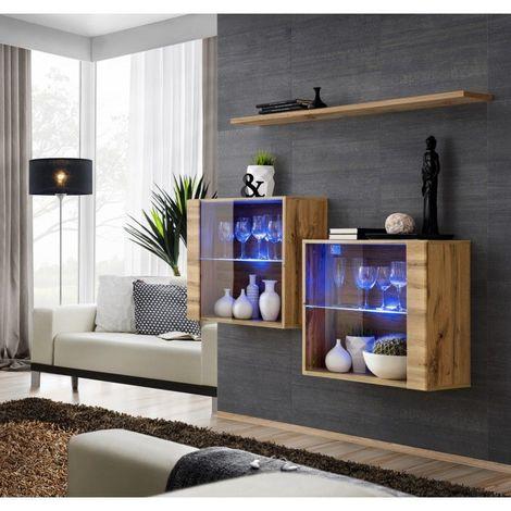 Ensemble meubles de salon SWITCH SBIII design, coloris chêne Wotan et porte vitrée avec système LED intégré. - Marron