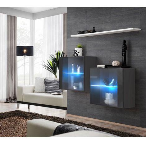 Ensemble meubles de salon SWITCH SBIII design, coloris gris brillant et porte vitrée avec système LED intégré, étagère blanche. - Gris