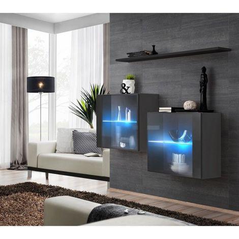 Ensemble meubles de salon SWITCH SBIII design, coloris gris brillant et porte vitrée avec système LED intégré, étagère noire. - Gris