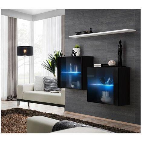 Ensemble meubles de salon SWITCH SBIII design, coloris noir brillant et porte vitrée avec système LED intégré, étagère blanche. - Noir