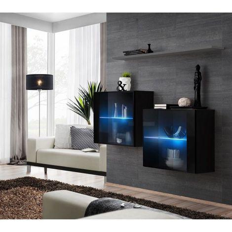 Ensemble meubles de salon SWITCH SBIII design, coloris noir brillant et porte vitrée avec système LED intégré, étagère grise. - Noir