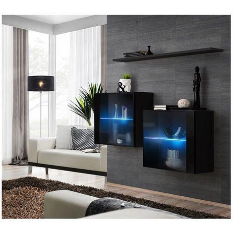 Ensemble meubles de salon SWITCH SBIII design, coloris noir brillant et porte vitrée avec système LED intégré. - Noir