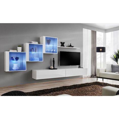 Ensemble meubles de salon SWITCH XX design, coloris blanc brillant. - Blanc