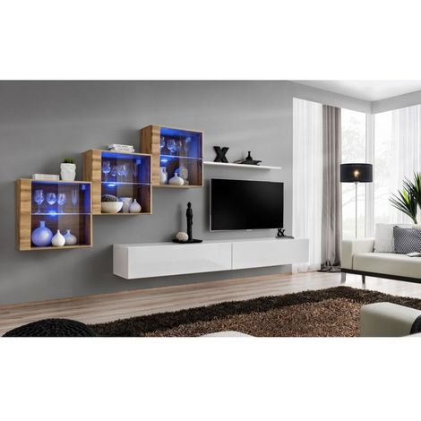 Ensemble meubles de salon SWITCH XX design, coloris blanc brillant et chêne Wotan. - Blanc
