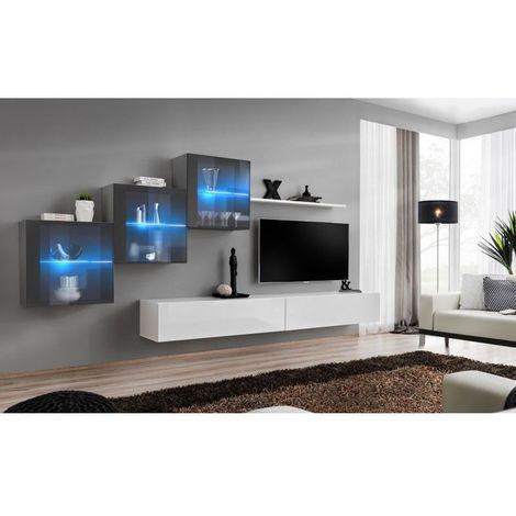 Ensemble meubles de salon SWITCH XX design, coloris blanc et gris brillant. - Blanc