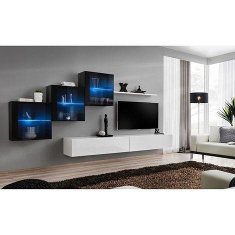 Ensemble meubles de salon SWITCH XX design, coloris blanc et noir brillant. - Blanc