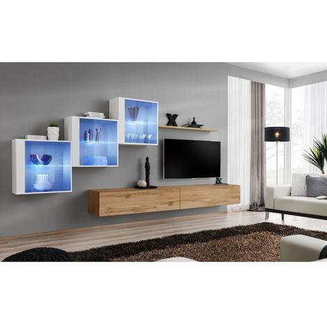 Ensemble meubles de salon SWITCH XX design, coloris chêne Wotan et blanc brillant. - Marron