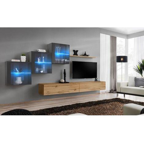 Ensemble meubles de salon SWITCH XX design, coloris chêne Wotan et gris brillant. - Marron