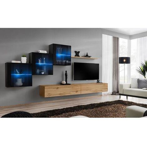 Ensemble meubles de salon SWITCH XX design, coloris chêne Wotan et noir brillant. - Marron