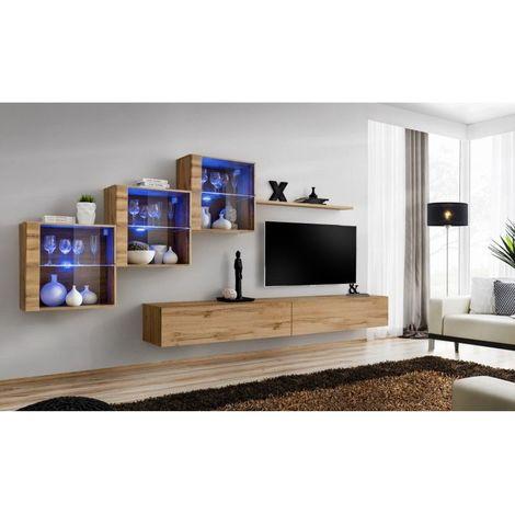 Ensemble meubles de salon SWITCH XX design, coloris chêne Wotan. - Marron