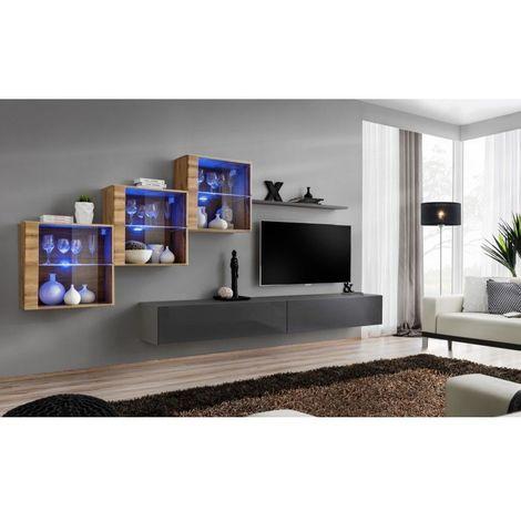 Ensemble meubles de salon SWITCH XX design, coloris gris brillant et chêne Wotan. - Gris