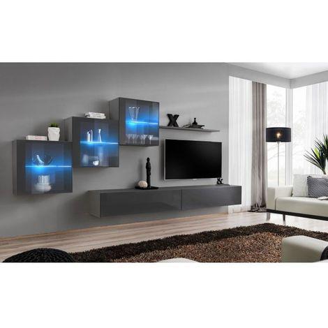 Ensemble meubles de salon SWITCH XX design, coloris gris brillant. - Gris