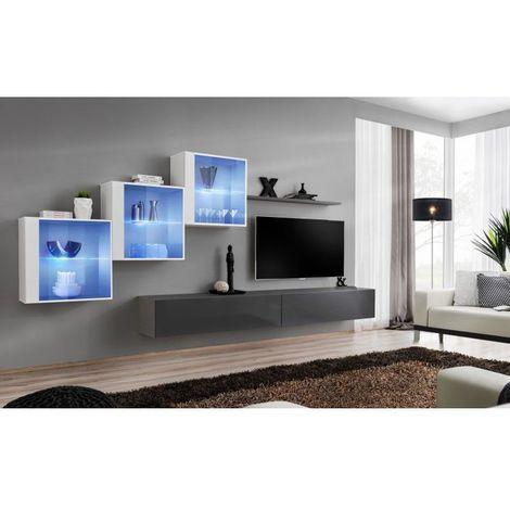 Ensemble meubles de salon SWITCH XX design, coloris gris et blanc brillant. - Gris
