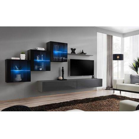 Ensemble meubles de salon SWITCH XX design, coloris gris et noir brillant. - Gris