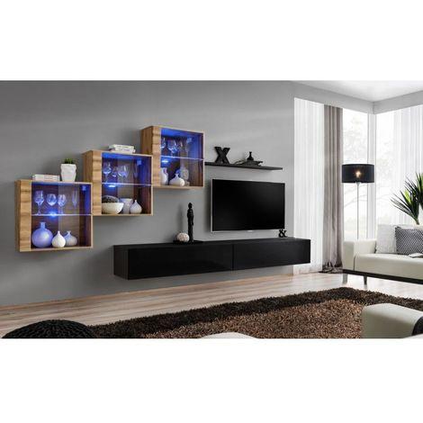 Ensemble meubles de salon SWITCH XX design, coloris noir brillant et chêne Wotan. - Noir