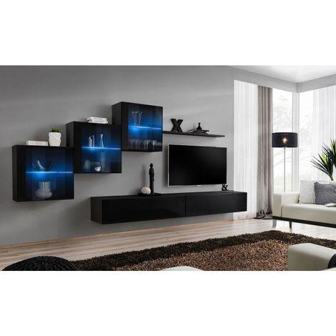 Ensemble meubles de salon SWITCH XX design, coloris noir brillant. - Noir