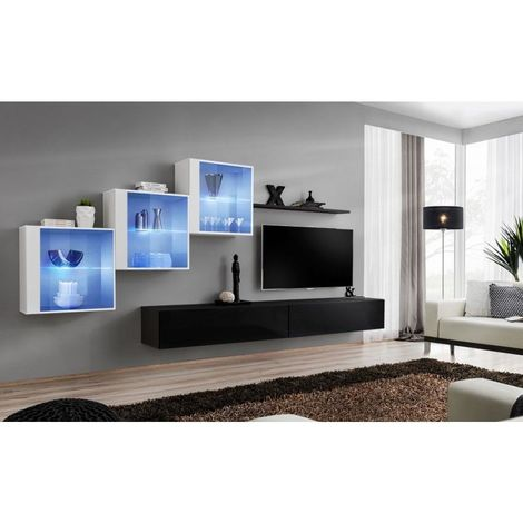 Ensemble meubles de salon SWITCH XX design, coloris noir et blanc brillant. - Noir