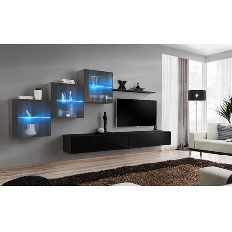 Ensemble meubles de salon SWITCH XX design, coloris noir et gris brillant. - Noir