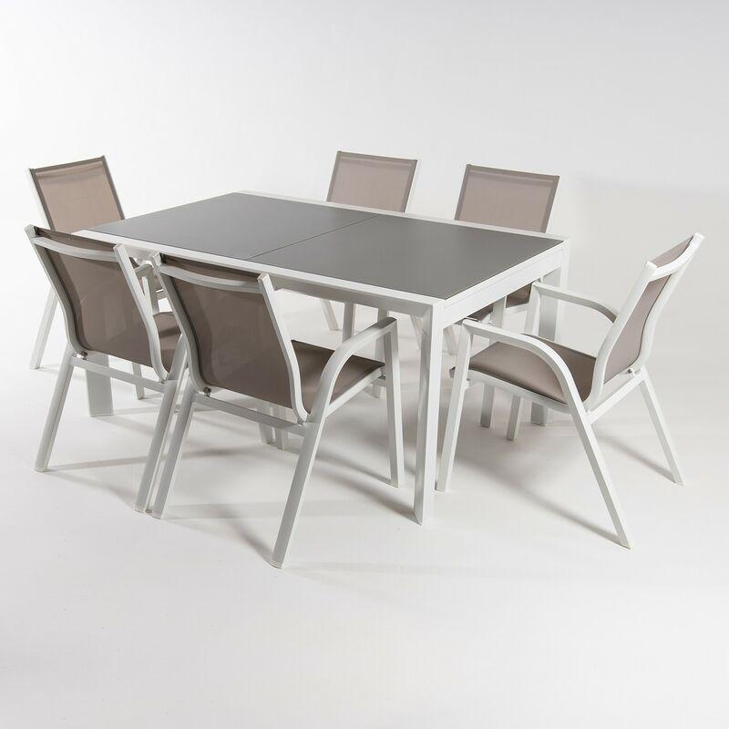 Ensemble meubles jardin   Table extensible 160/210   Fauteuil empilable   6 places Blanc   Aluminium   Textilene taupé - Blanco