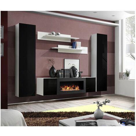 Ensemble mural - FLY M - 1 meuble TV - 2 vitrines verticales - 2 étagères murales - Blanc et noir - Livraison gratuite