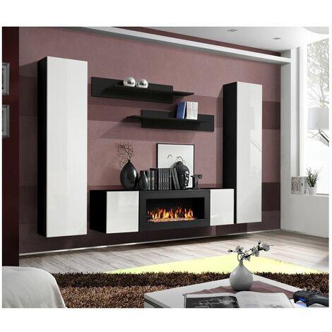 Ensemble mural - FLY M - 1 meuble TV - 2 vitrines verticales - 2 étagères murales - Noir et blanc - Livraison gratuite