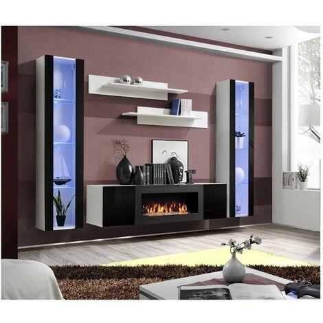 Ensemble mural - FLY M - 1 meuble TV - 2 vitrines verticales LED - 2 étagères murales - Blanc et noir - Modèle 1 - Livraison gratuite