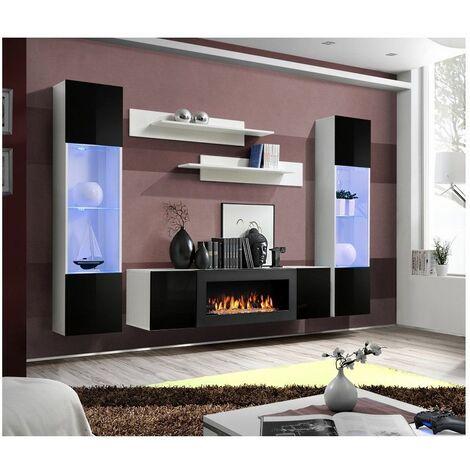 Ensemble mural - FLY M - 1 meuble TV - 2 vitrines verticales LED - 2 étagères murales - Blanc et noir - Modèle 2 - Livraison gratuite