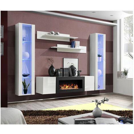 Ensemble mural - FLY M - 1 meuble TV - 2 vitrines verticales LED - 2 étagères murales - Blanc - Modèle 1 - Livraison gratuite