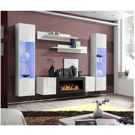 Ensemble mural - FLY M - 1 meuble TV - 2 vitrines verticales LED - 2 étagères murales - Blanc - Modèle 2 - Livraison gratuite