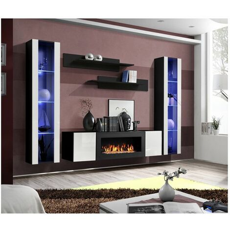 Ensemble mural - FLY M - 1 meuble TV - 2 vitrines verticales LED - 2 étagères murales - Noir et blanc - Modèle 1 - Livraison gratuite