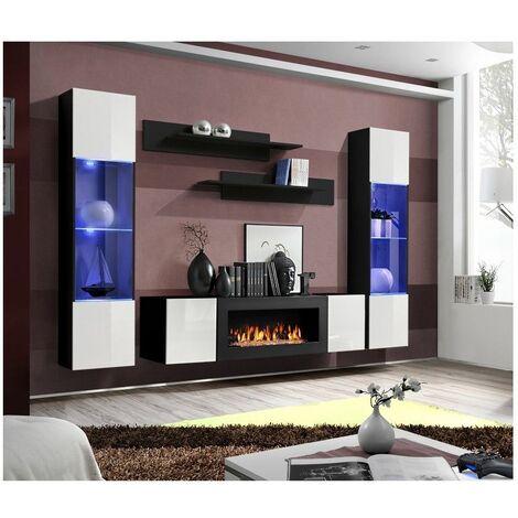 Ensemble mural - FLY M - 1 meuble TV - 2 vitrines verticales LED - 2 étagères murales - Noir et blanc - Modèle 2 - Livraison gratuite