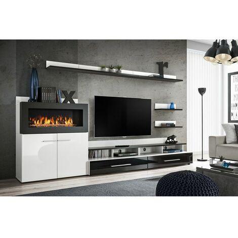 Ensemble murale meuble TV - Camino - 8 éléments - Blanc et noir - Livraison gratuite