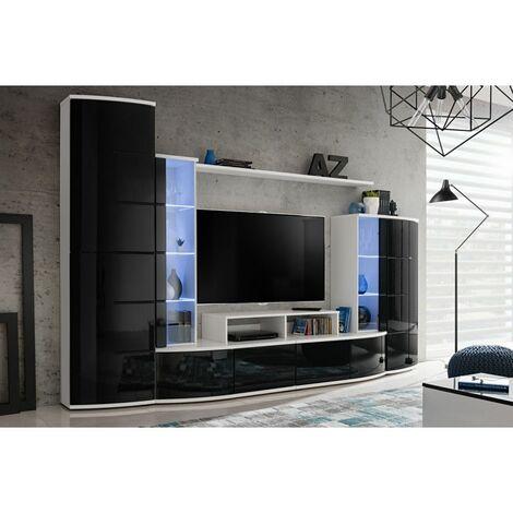 Ensemble murale meuble TV - Leave - Blanc et noir - Livraison gratuite