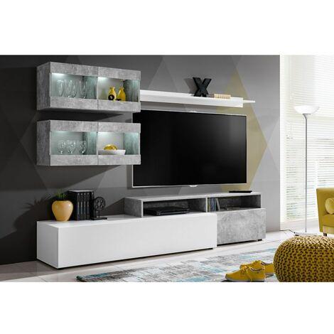 Ensemble murale meuble TV - Light - 6 éléments - Blanc - Livraison gratuite
