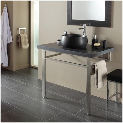 Ensemble plan + vasque pierre naturelle noir moderne