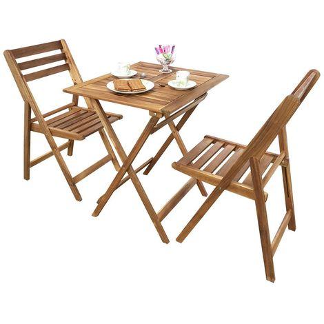 Ensemble pliable table + 2 chaises pour balcon en acacia Fidgi