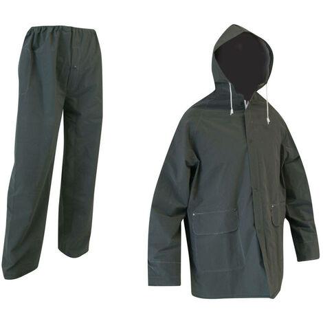 """main image of """"Ensemble de pluie veste et pantalon imperméable PVC 1er prix - Gamme Access Pluie - GIVRE - KAKI FONCE - 1039 - LMA Lebeurre"""""""