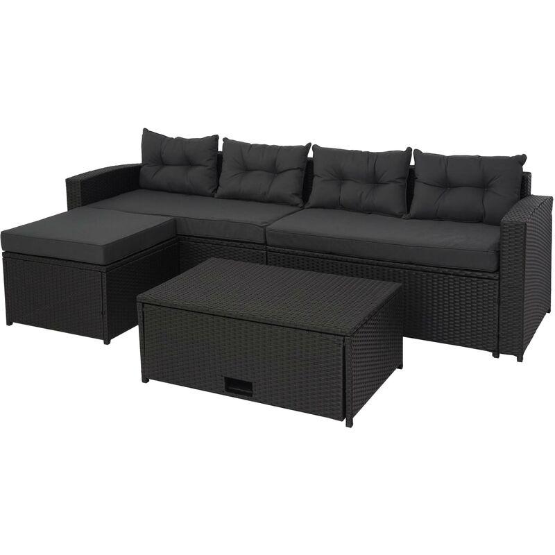 Ensemble poly rotin 080, ensemble balcon/jardin/salon groupe de sièges sofa, ~ noir, coussins gris foncé - HHG
