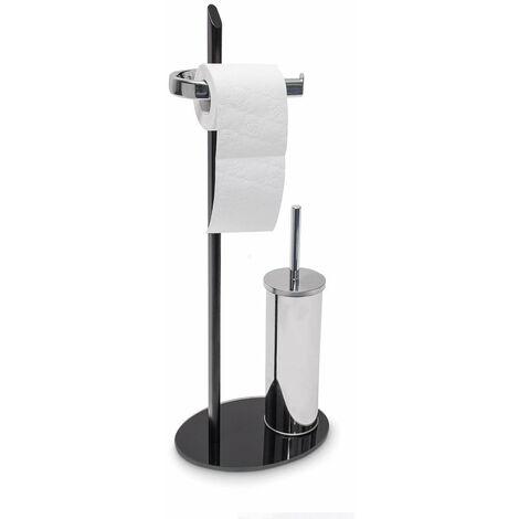 Ensemble porte brosse WC papier toilette verre noir et inox - Noir