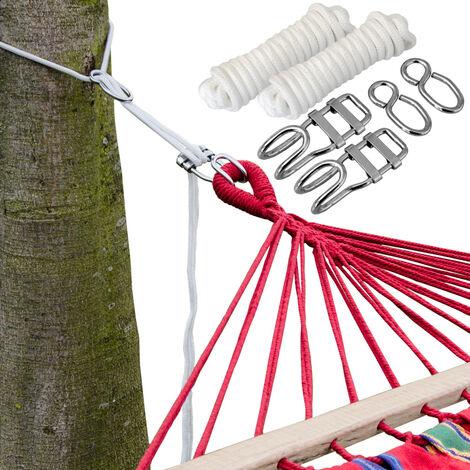 Ensemble pour Accrocher votre Hamac aux Arbres   Corde de 6 m   Poids maximum supporté 160 Kg   Kit Complet