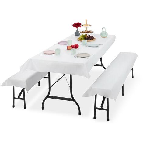Ensemble pour tente Coussins, 3 pièces,nappe pour la table 250x100cm, 2 housses bancs, lavable, blanc