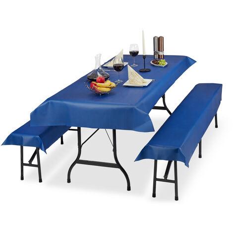 Ensemble pour tente Coussins, 3 pièces,nappe pour la table 250x100cm, 2 housses bancs, lavable, bleu