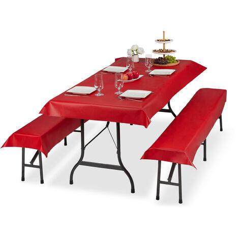 Ensemble pour tente Coussins, 3 pièces,nappe pour la table 250x100cm, 2 housses bancs, lavable, rouge