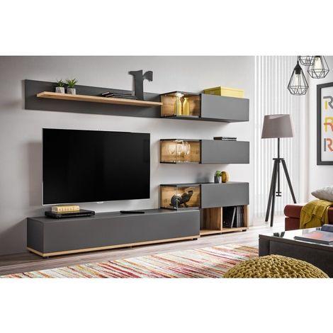Ensemble pour votre salon KLIS . Composition murale coloris gris anthracite et chêne. LED incluses - Gris
